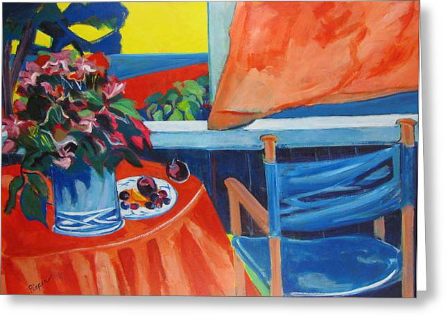 Greeting Card featuring the painting Blue Canvas Chair by Betty Pieper