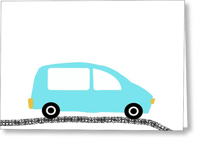 Blue Car On Road- Art By Linda Woods Greeting Card