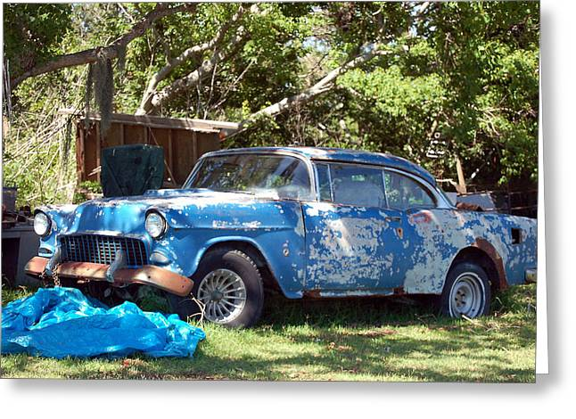 Blue Car On The Bayou Greeting Card