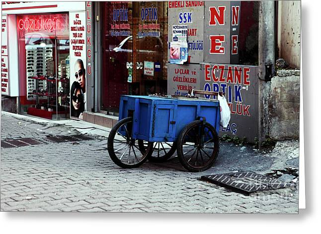Blue Cart In Karakoy Greeting Card by John Rizzuto