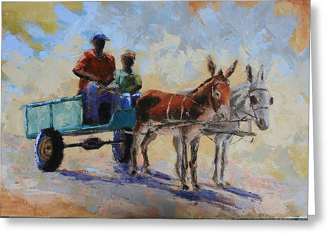 Blue Cart Greeting Card by Yvonne Ankerman