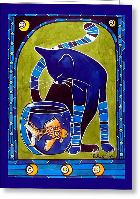 Greeting Card featuring the painting Blue Cat With Goldfish by Dora Hathazi Mendes