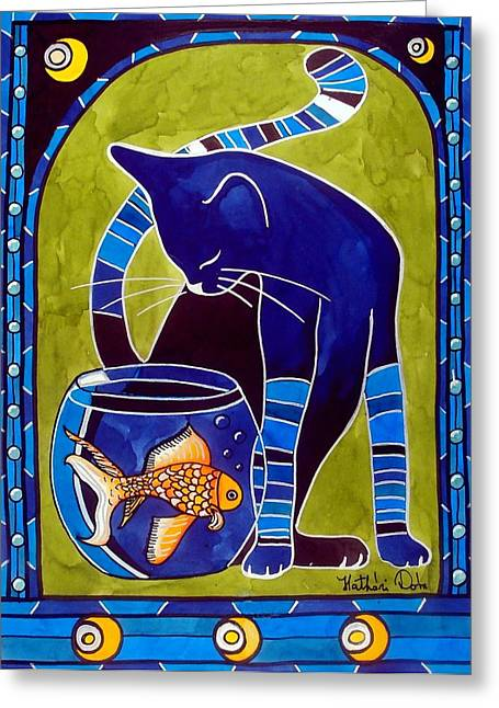 Blue Cat With Goldfish Greeting Card