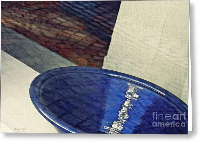 Blue Ceramic Bowl In Eltville 1 Greeting Card