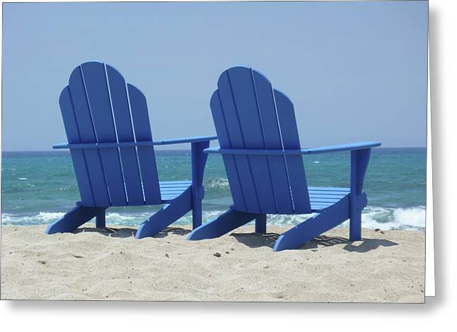 Frank Ocean Art Greeting Cards - Blue Chairs Greeting Card by Frank DiMarco