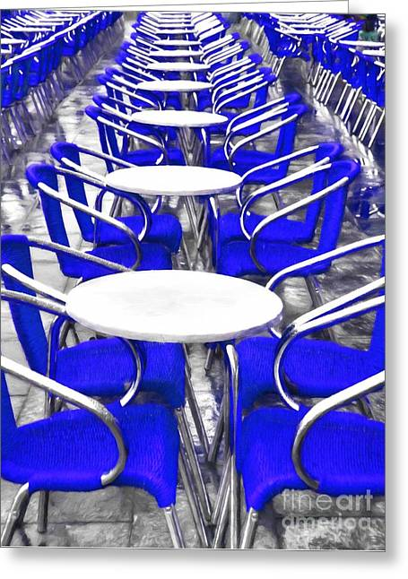Blue Chairs In Venice Greeting Card by Mel Steinhauer
