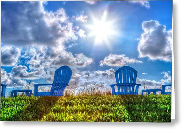 Blue Chairs On The Dunes Greeting Card