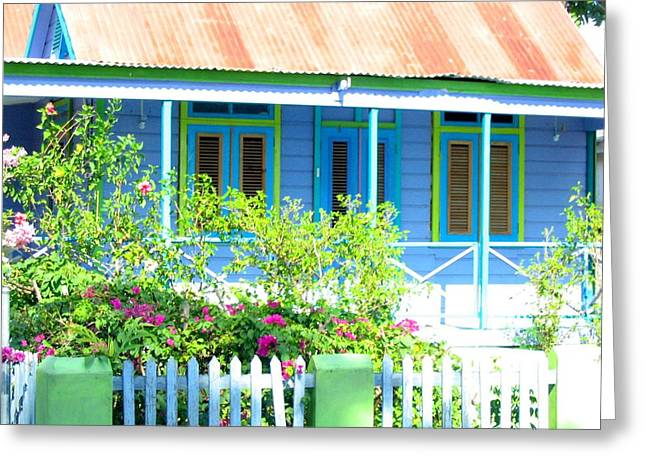 Blue Chattel House Greeting Card