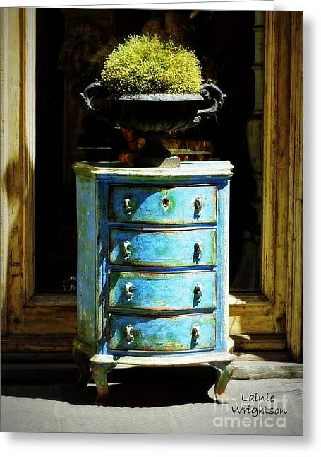 Blue Chest Of Drawers Greeting Card