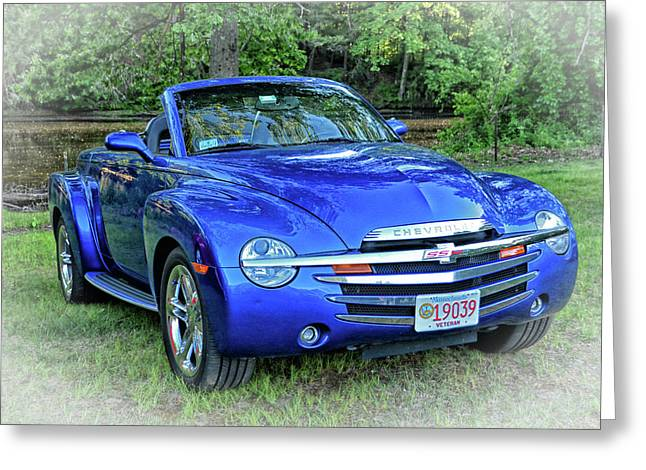 Blue Chevy Super Sport Roadster Greeting Card by Mike Martin