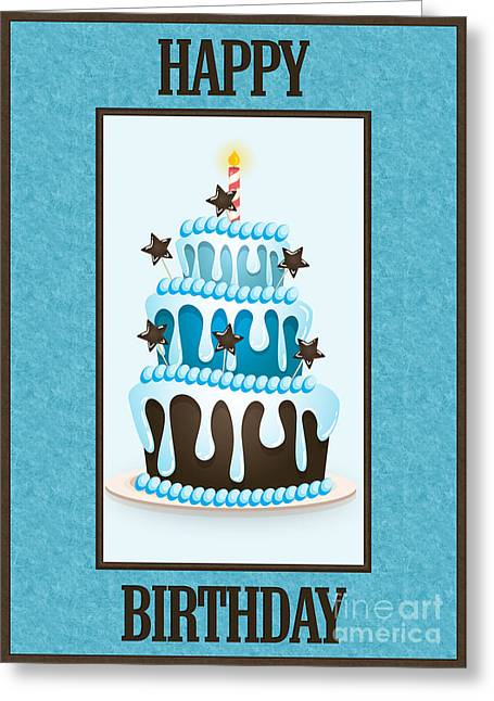 Greeting Card featuring the digital art Blue Choco Birthday Cake by JH Designs