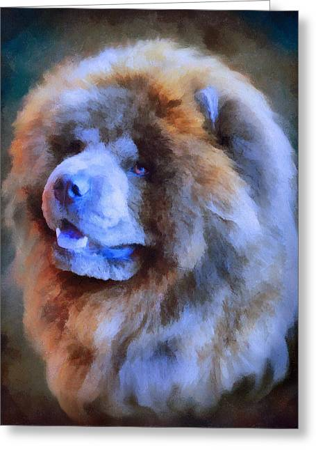 Blue Chow Portrait Greeting Card by Jai Johnson