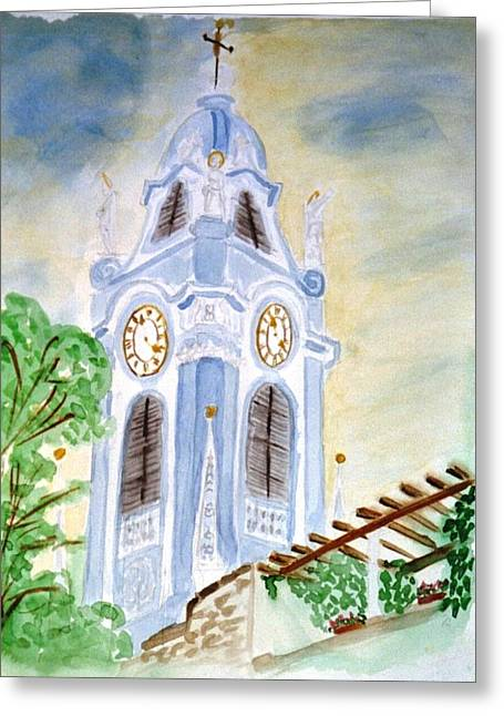 Blue Church Tower  Greeting Card