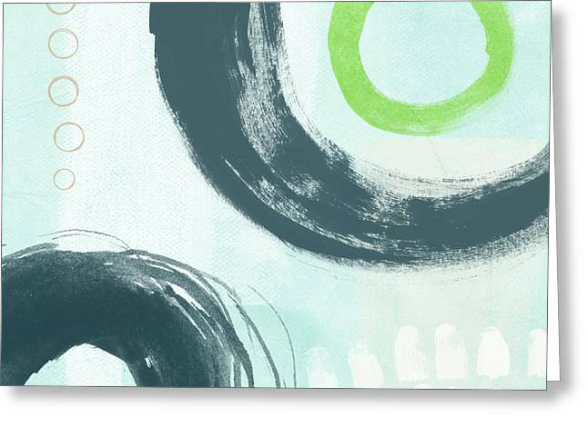 Blue Circles 3- Art By Linda Woods Greeting Card