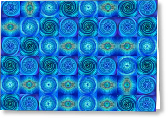 Blue Circles Abstract Art By Sharon Cummings Greeting Card by Sharon Cummings