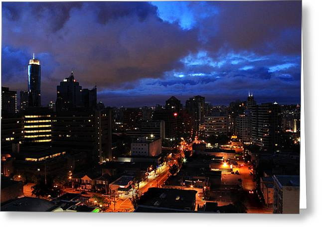 Blue City Greeting Card by Angie Wingerd