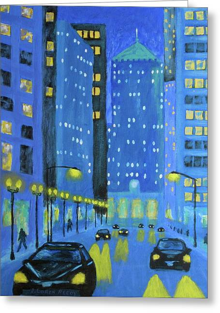 American Automobiles Paintings Greeting Cards - Blue City Blues Greeting Card by J Loren Reedy