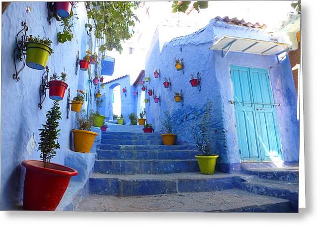 Blue City Flower Steps Greeting Card