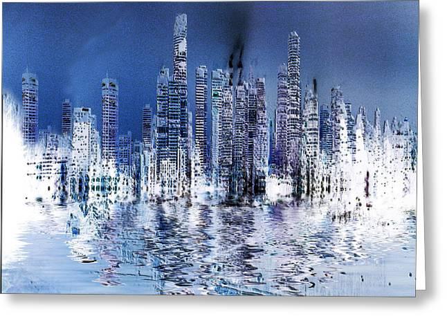 Blue City Greeting Card by Stuart Turnbull