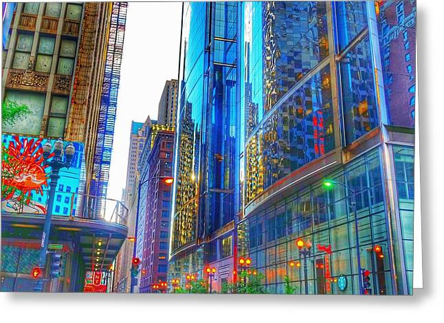 Greeting Card featuring the photograph Blue Cityscape by Marianne Dow