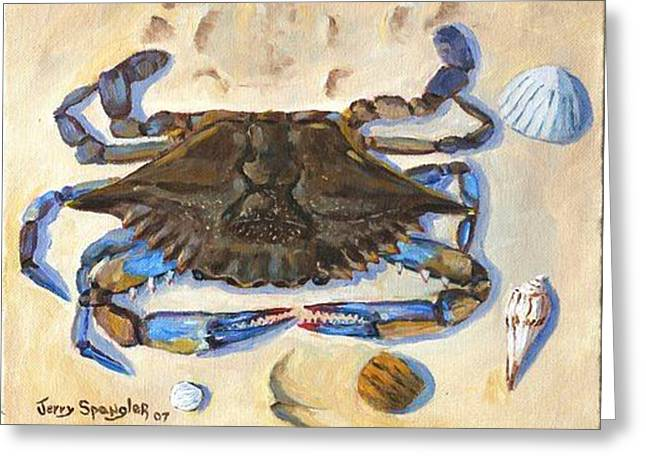 Blue Claw Crab Greeting Card by Jerry Spangler