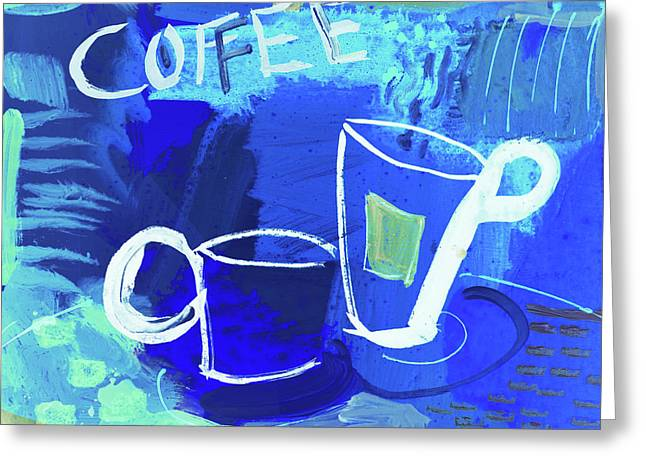Blue Coffee Greeting Card