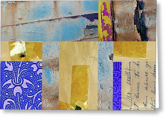 Blue Collage Greeting Card by Nancy Merkle