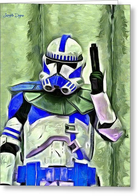 Blue Commander Stormtrooper At Work - Da Greeting Card by Leonardo Digenio