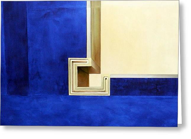 Blue Construktion On White Greeting Card by Albert Kutzelnig
