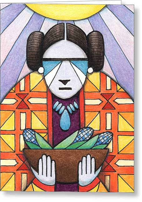 Blue Corn Woman Greeting Card by Amy S Turner
