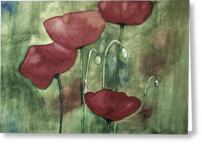 Red Photographs Paintings Greeting Cards - Blue Corner Greeting Card by Julie Lueders