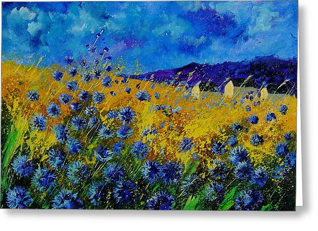 Blue Cornflowers Greeting Card by Pol Ledent