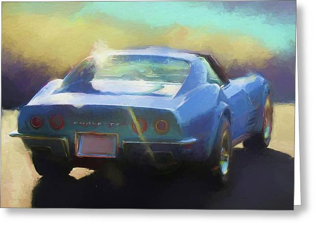 Greeting Card featuring the digital art Blue Corvette by David King