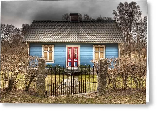 Blue Cottage Greeting Card by Elisabeth Van Eyken