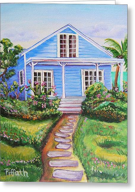 Blue Cottage Greeting Card