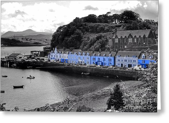 Blue Cottages At Portree Harbour 5 Greeting Card