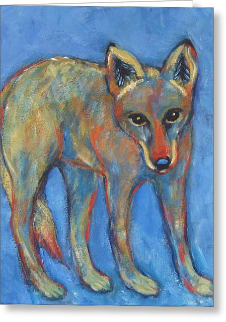 Prairie Style Greeting Cards - Blue Coyote Greeting Card by Carol Suzanne Niebuhr