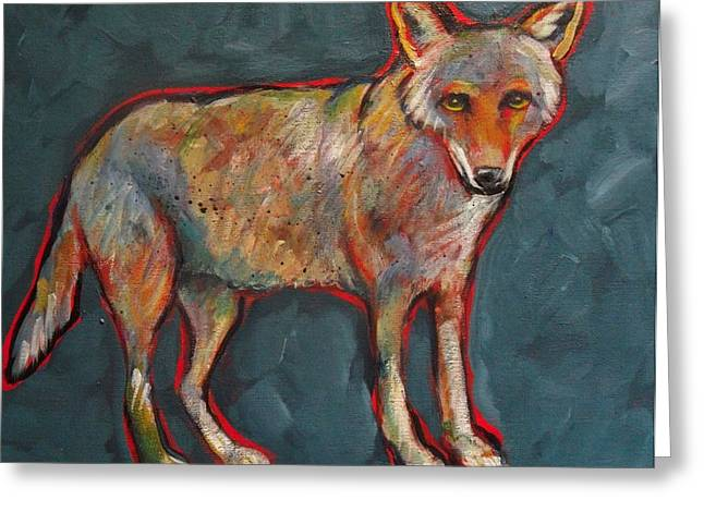 Prairie Style Greeting Cards - Blue Coyote Santa Fe Style Greeting Card by Carol Suzanne Niebuhr
