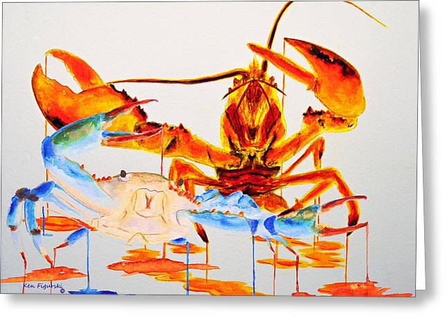 Blue Crab And Calico Lobster Greeting Card