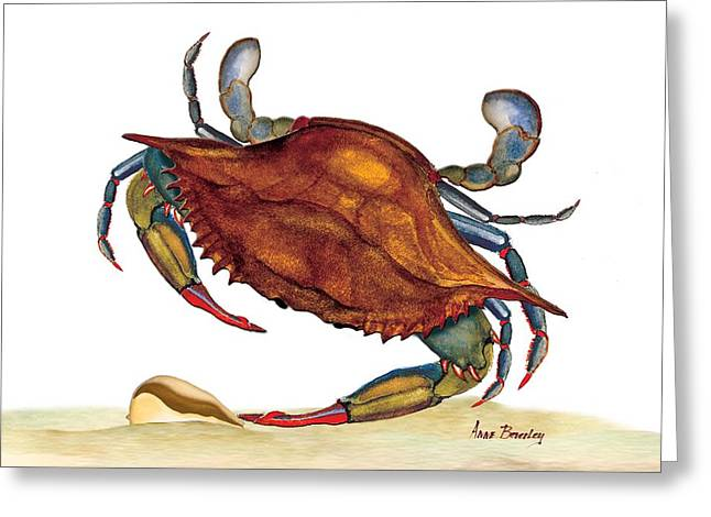 Greeting Card featuring the painting Blue Crab by Anne Beverley-Stamps