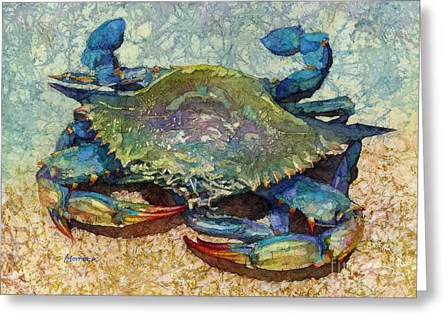 Blue Crab Greeting Card by Hailey E Herrera