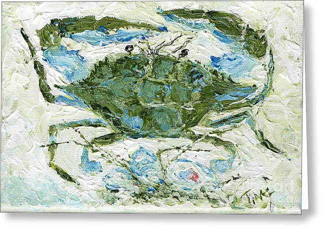 Greeting Card featuring the painting Blue Crab Knife Painting by Doris Blessington