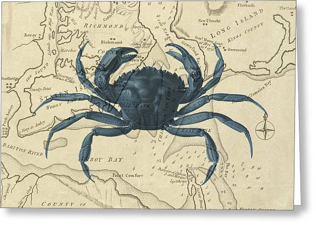Blue Crab Over Antique Sea Chart Greeting Card by Erin Cadigan