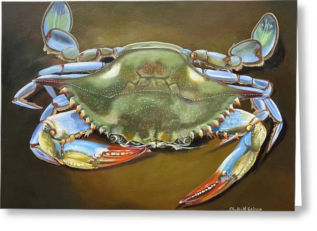 Blue Crab Greeting Card by Phyllis Beiser