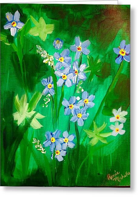 Blue Crocus Flowers Greeting Card by Renee Michelle Wenker