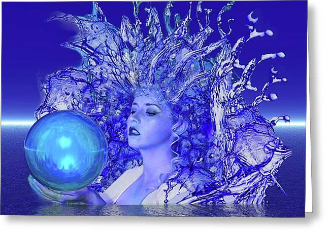 Blue Crystal Greeting Card by Matthew Lacey