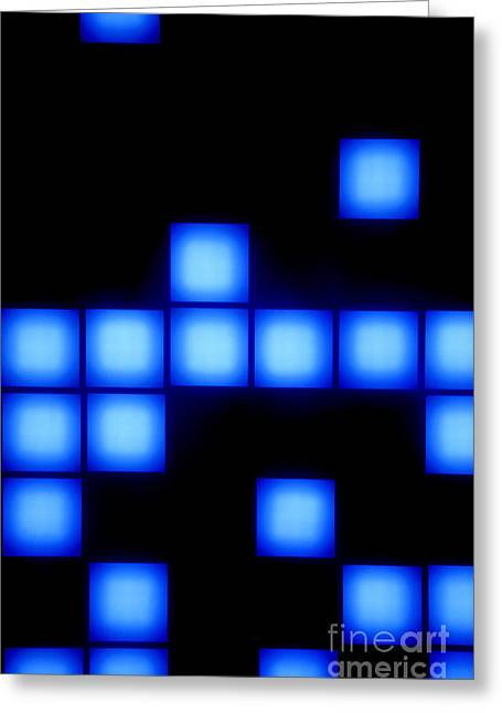 Blue Cubes Greeting Card by Brandon Tabiolo - Printscapes