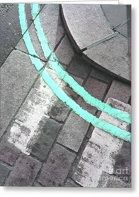 Greeting Card featuring the photograph Blue Curb by Rebecca Harman