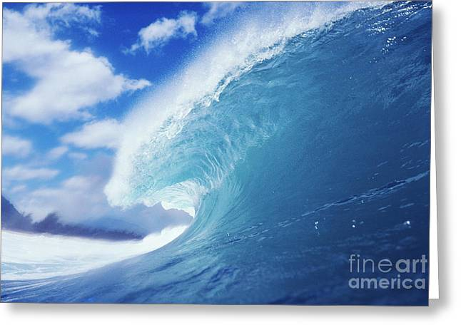 Blue Curling Wave Greeting Card by Vince Cavataio - Printscapes