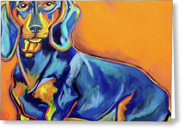 Blue Dachshund Greeting Card by Ilene Richard